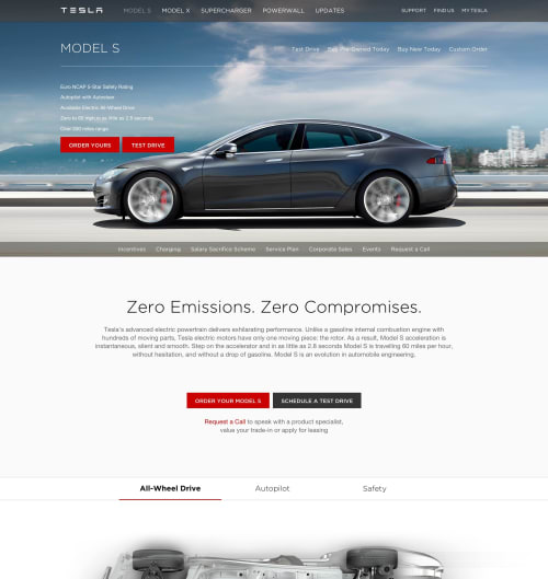 Tesla's Model S page