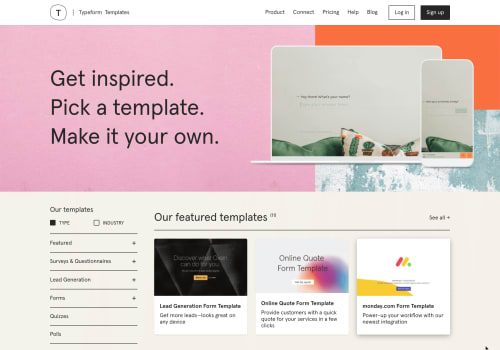 A screenshot of Typeform's templates page