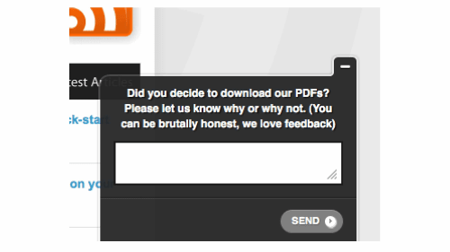 A screenshot of an on-page survey asking questions.