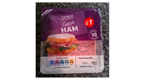 A photo of a packet of ham from Tesco.