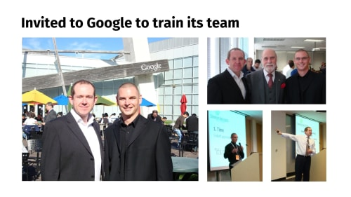 Photos of when we were invited to Google to train its team