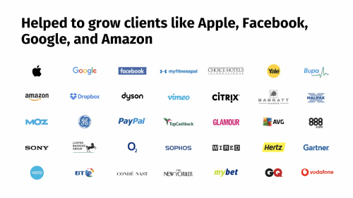 Logos of companies we've helped to grow including Apple, Facebook, Google, and Amazon.