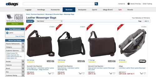 eBags hover-over reveals an alternative image