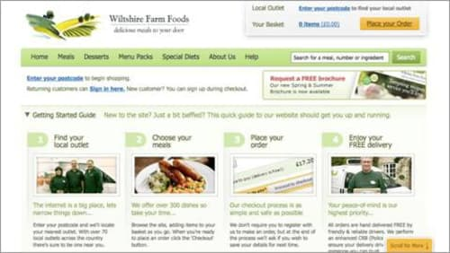"""The Wiltshire Farm Foods website has a simple """"Scroll for More"""" label fixed to the bottom of the browser window"""
