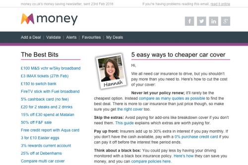 money.co.uk's email newsletter