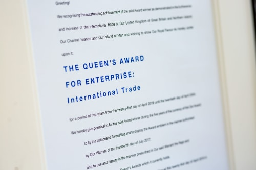 Our Queen's Award certificate signed by Her Majesty The Queen