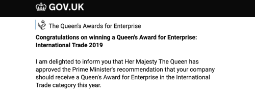 Screenshot of the email announcing that Conversion Rate Experts has won a Queen's Award