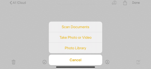 Screenshot of scanning documents in the Notes app on iOS