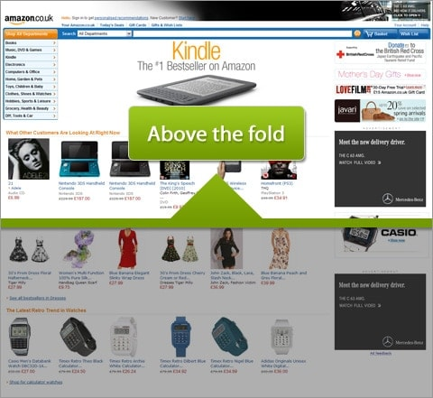 An illustration of the fold on Amazon's homepage.