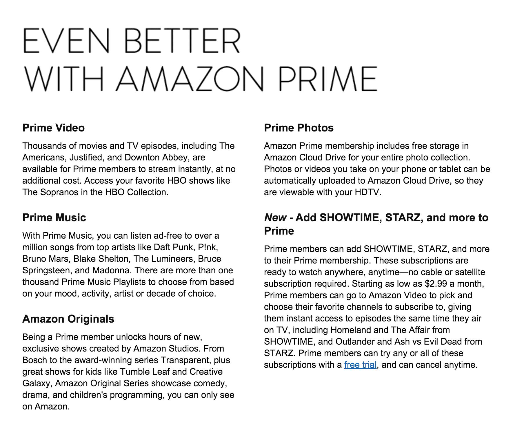 Amazon Prime's benefits