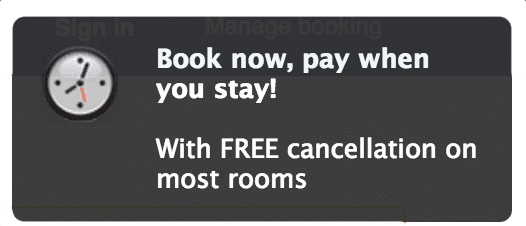Screenshot of one of Booking.com's notifications