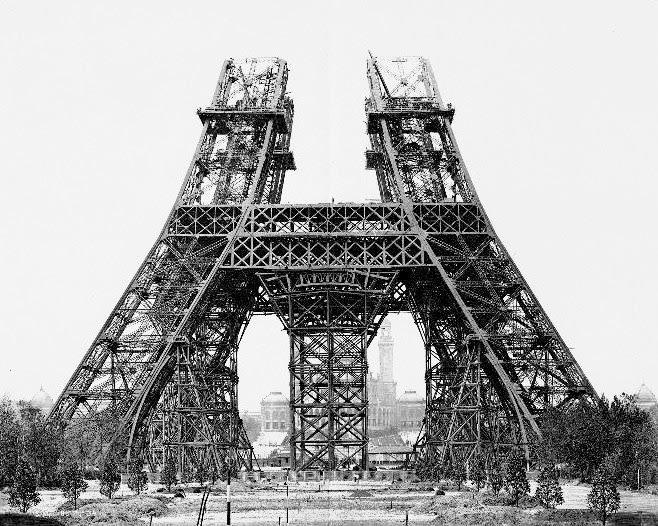 Photo of the Eiffel Tower being built