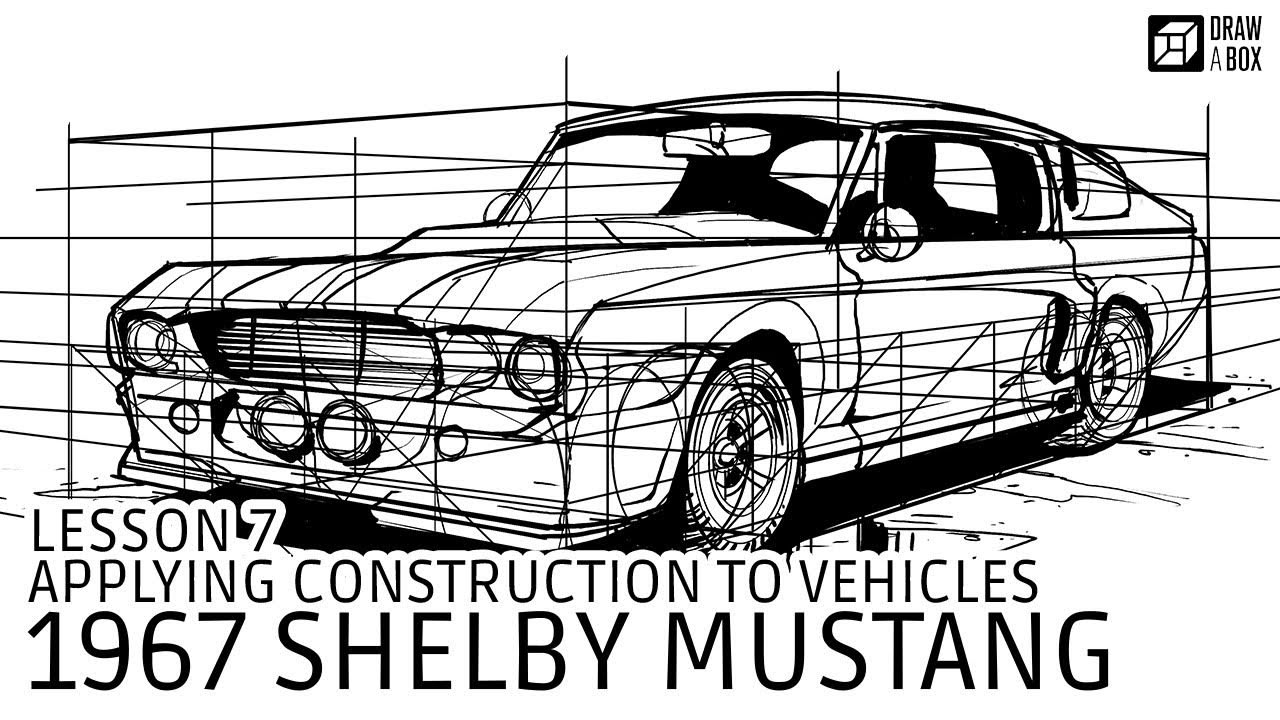 A drawing of a car from one of the later lessons of the Drawabox course