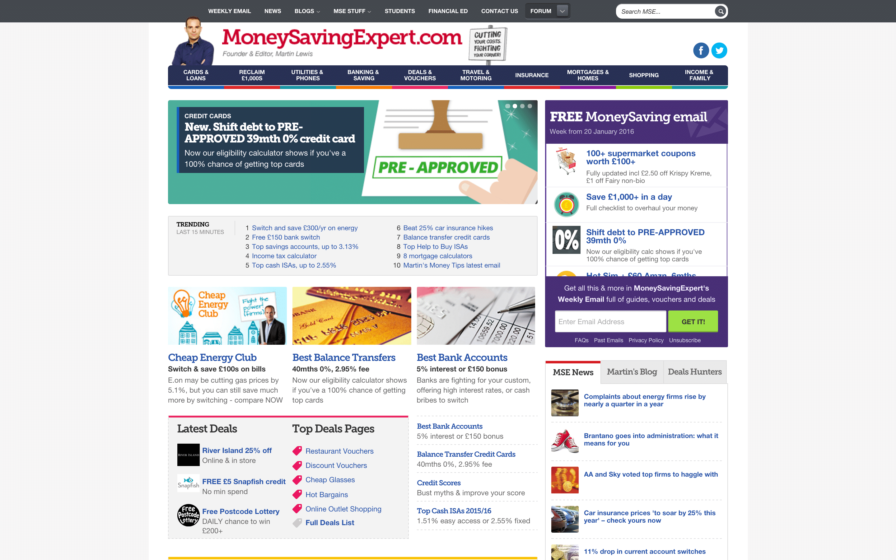 The homepage of MoneySavingExpert.com