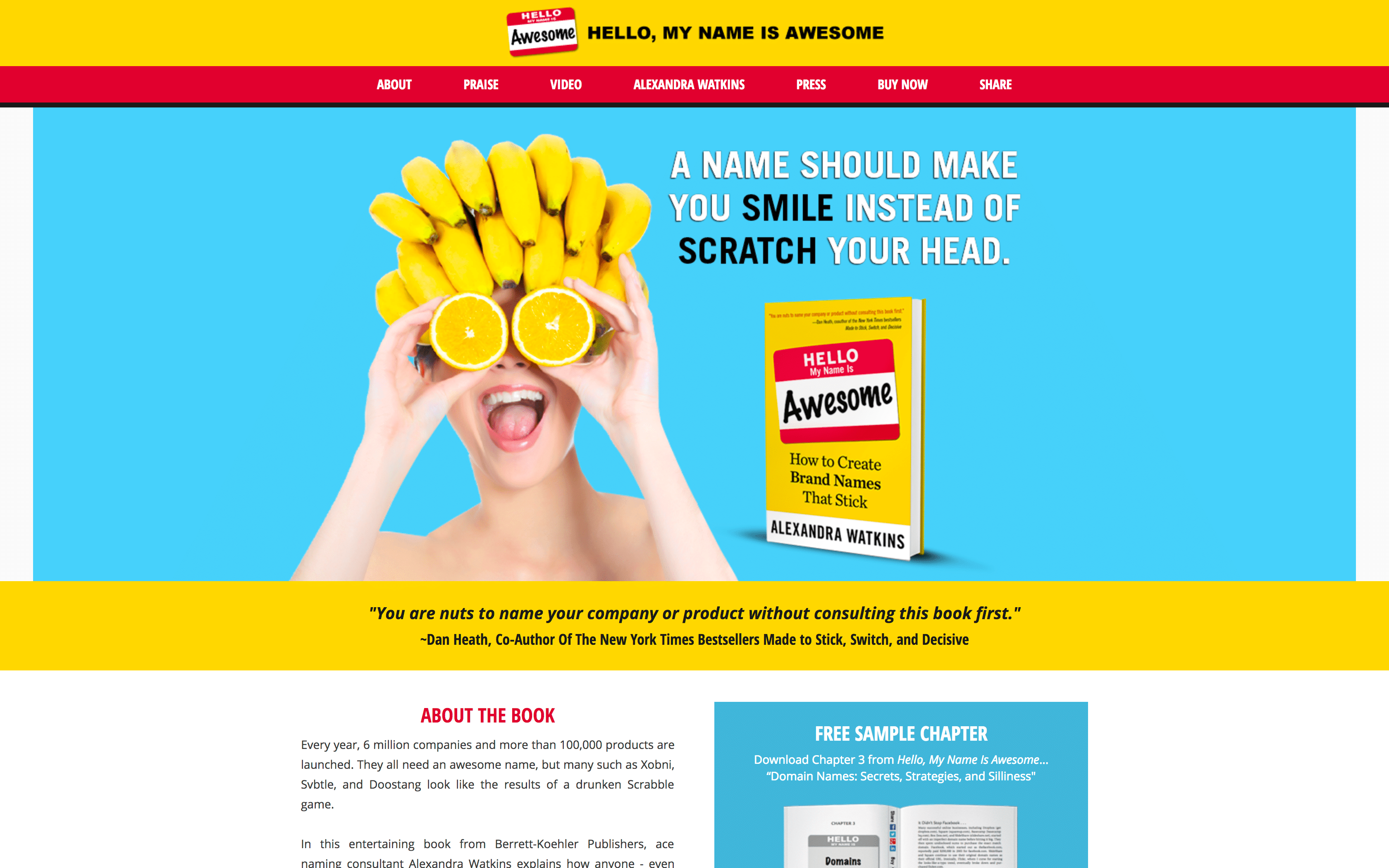 """Screenshot of the homepage for the book """"Hello, My Name Is Awesome"""""""