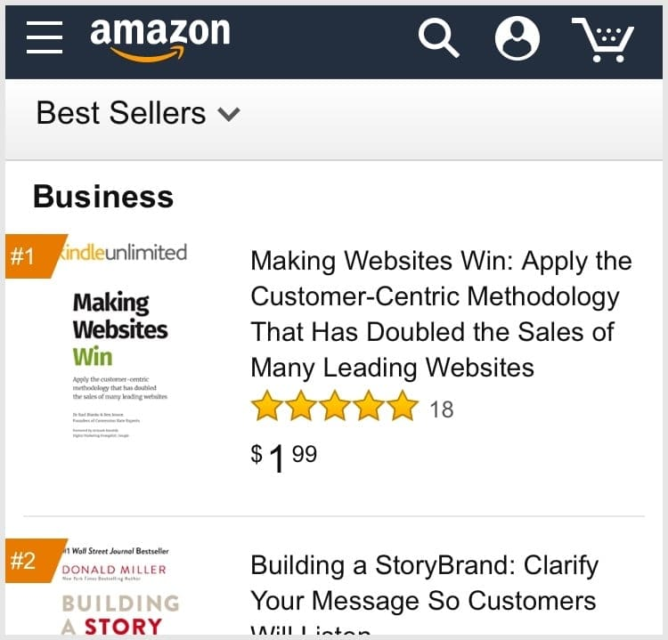Screenshot of the book at #1 in Amazon's Business category.
