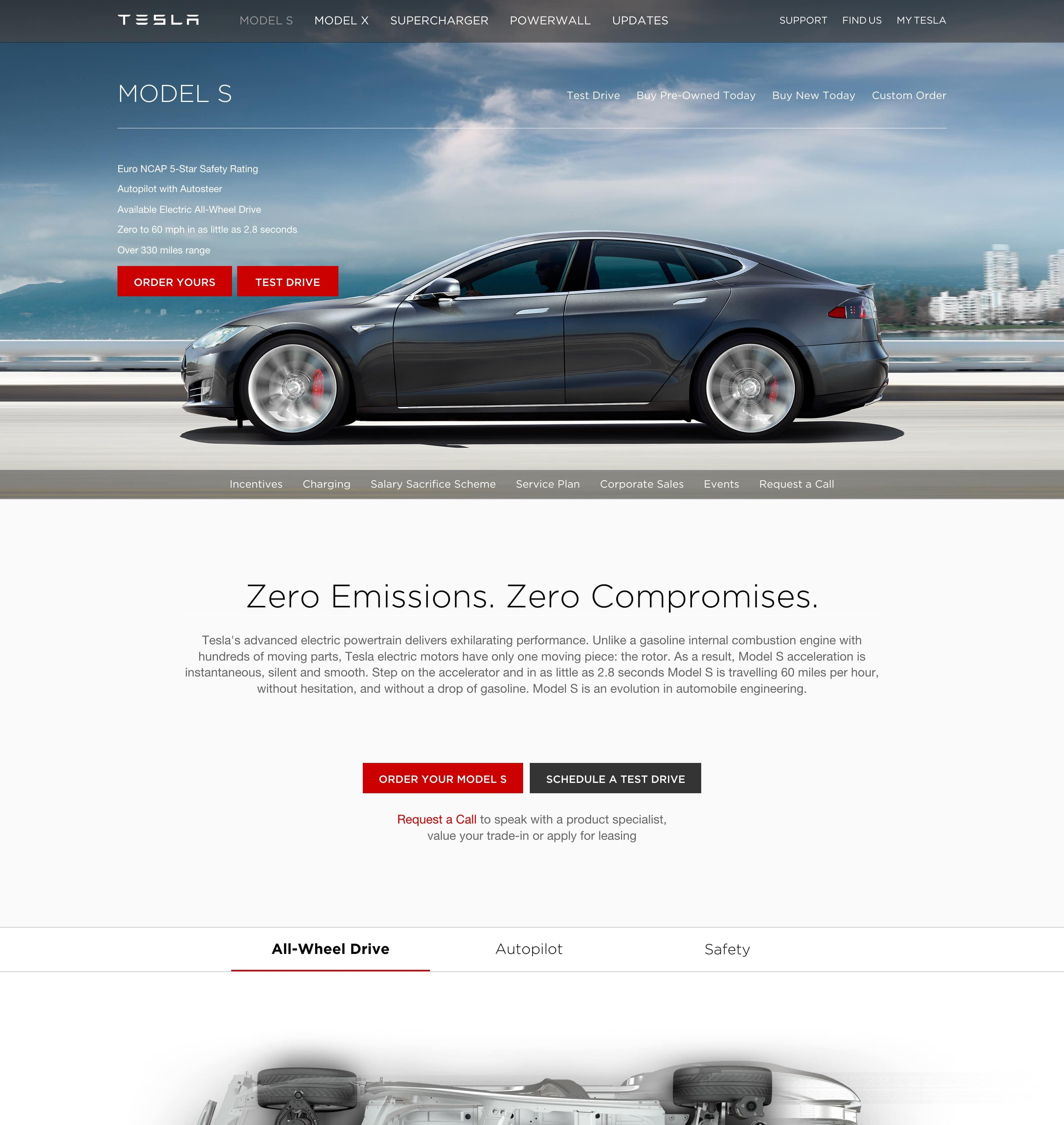 Tesla's Model S page
