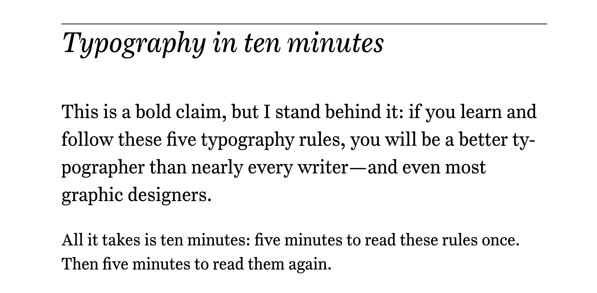 A screenshot of typography in ten minutes