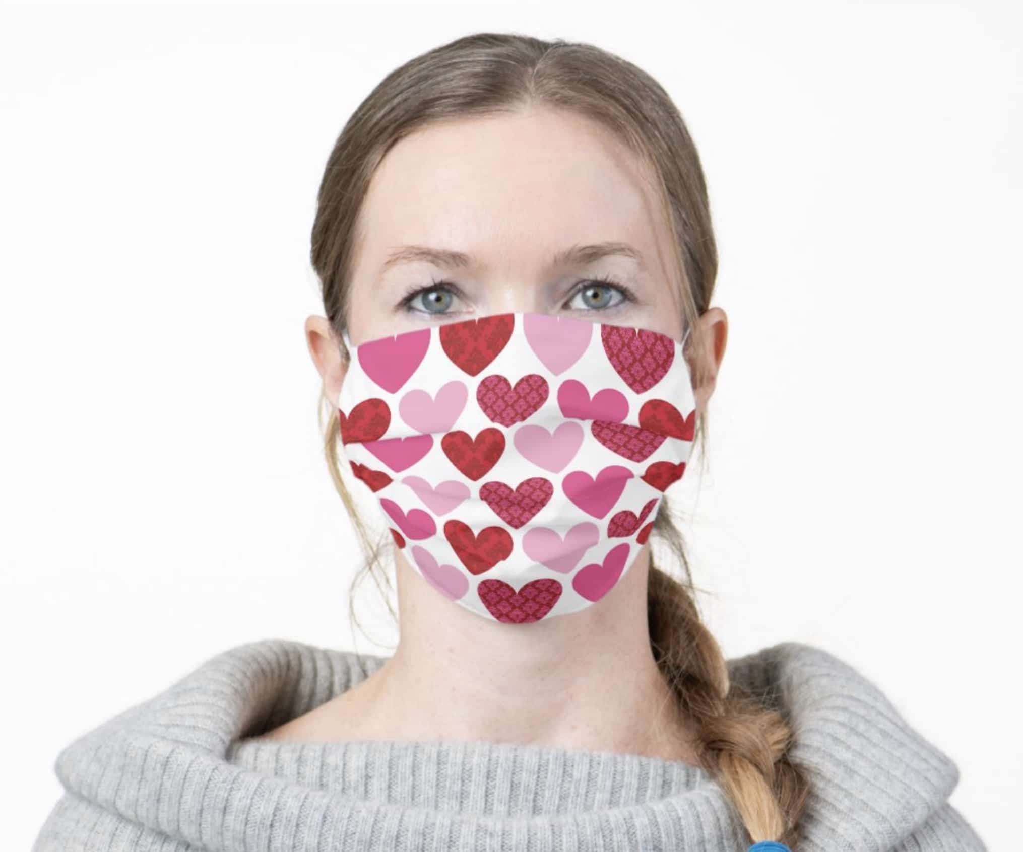 A woman wearing a Zazzle face mask