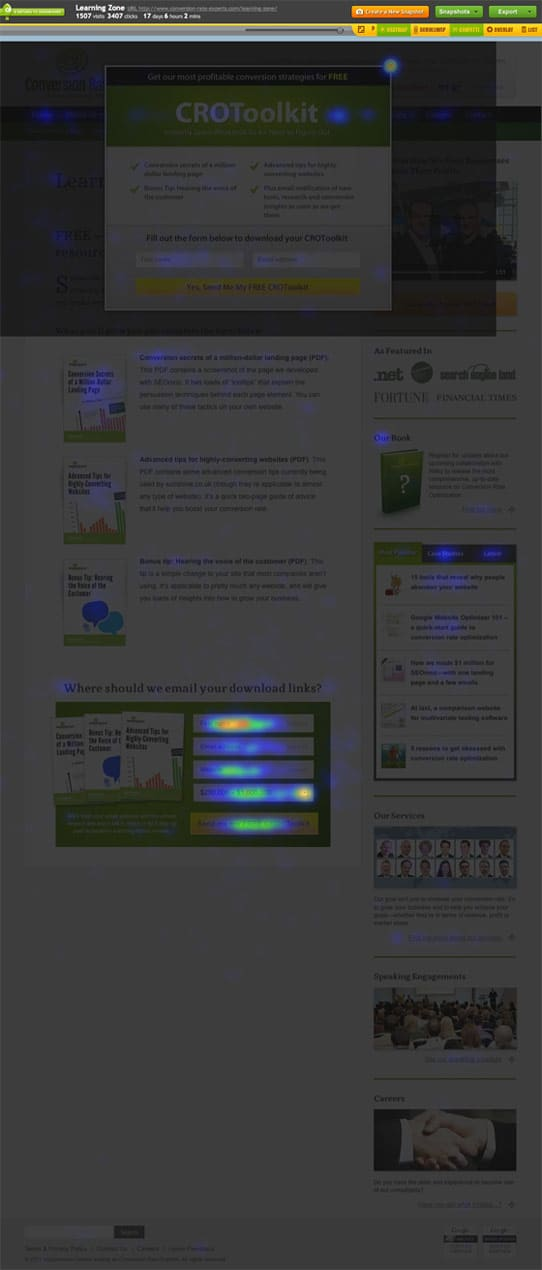 Screenshot of a heatmap of the Crazy Egg report