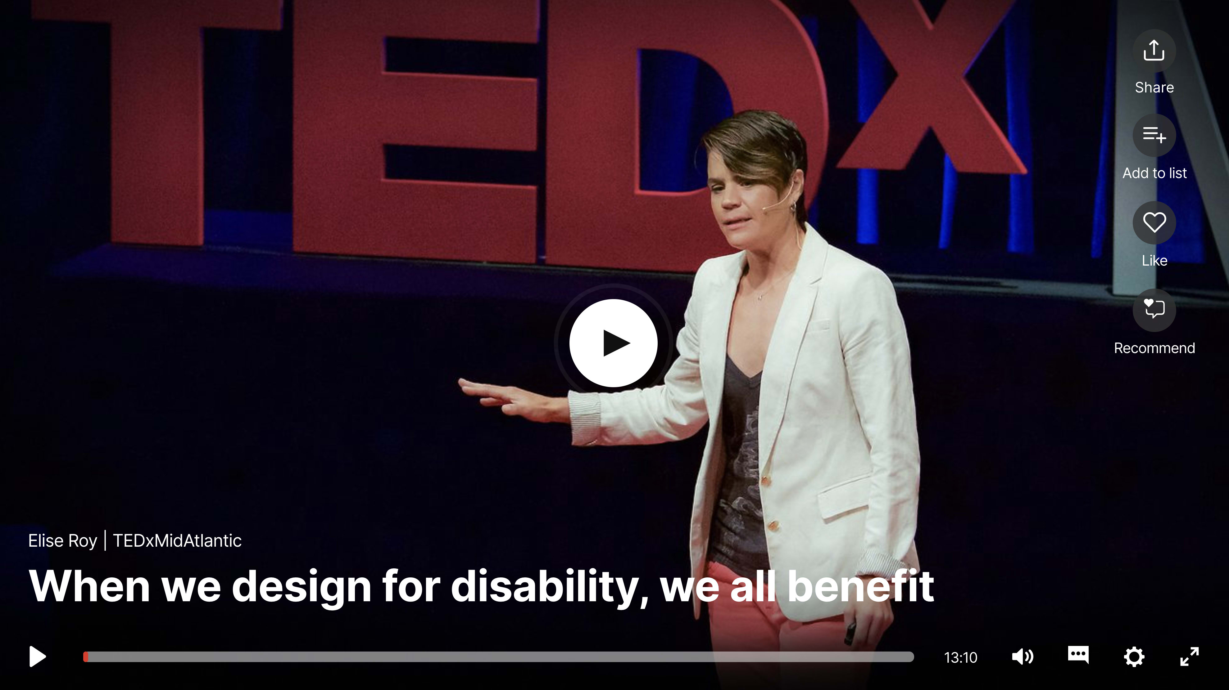 A thumbnail of the video for a TED talk by designer Elise Roy.