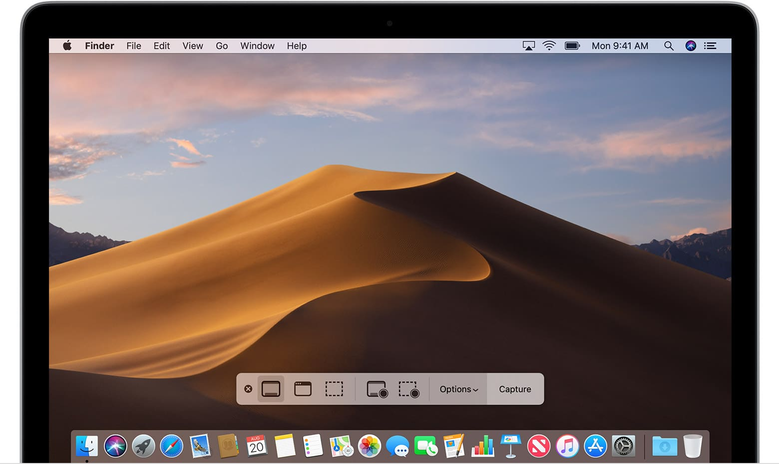 Not easy to get: A screenshot of macOS Mojave's screenshot tool.