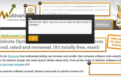 Screenshot of a multivariate test
