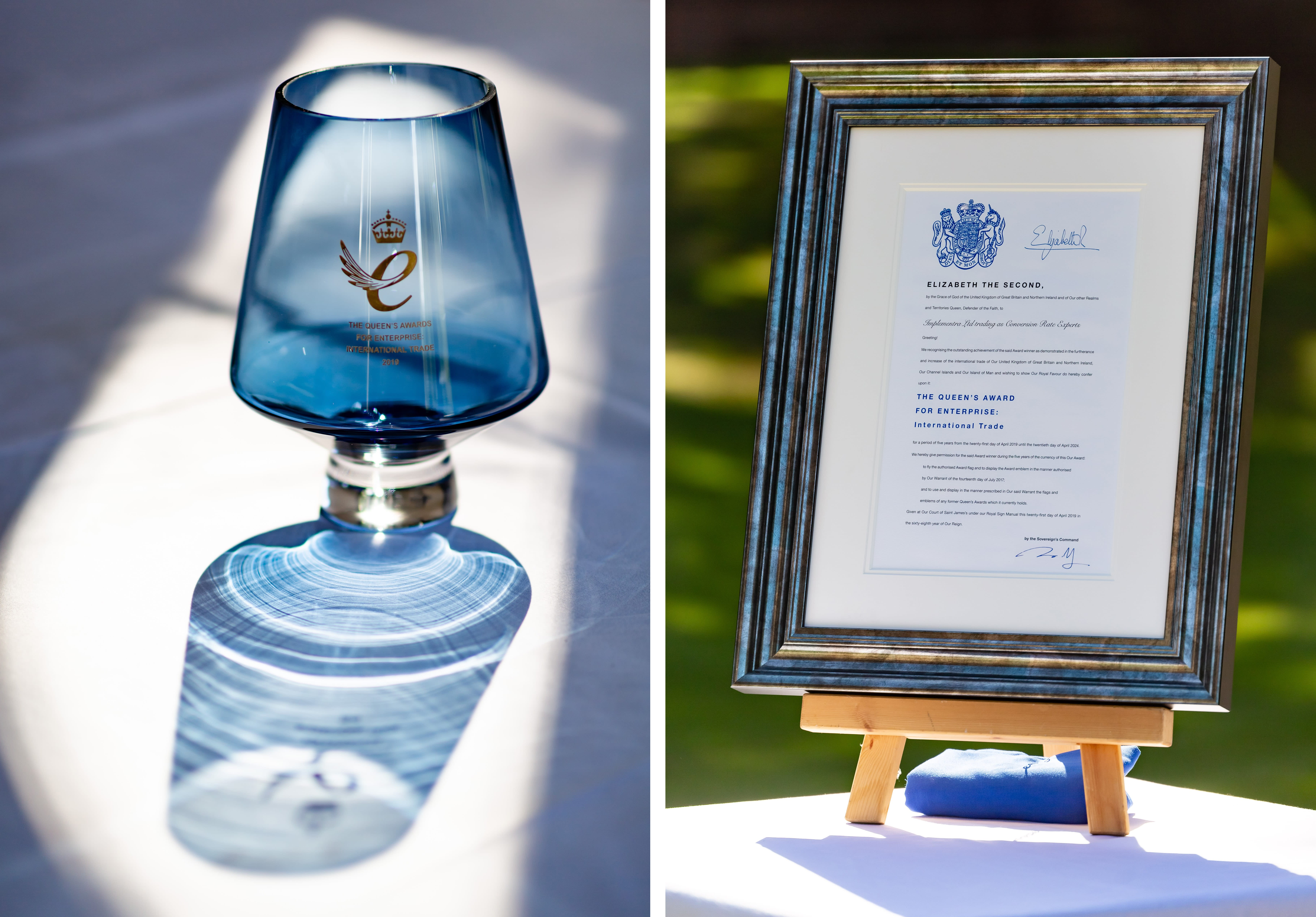 The royal crystal and certificate, which now has pride of place in our offices.