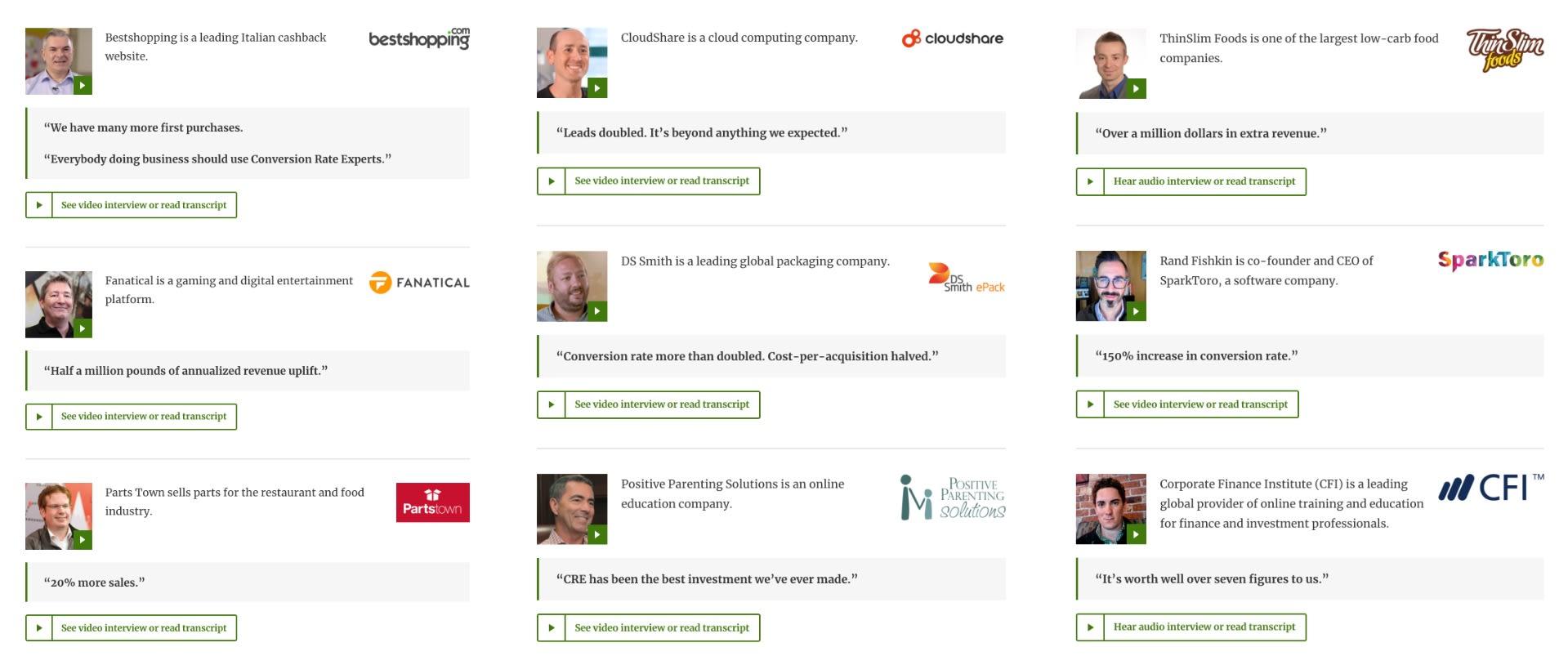 A screenshot of nine of our recent testimonials.