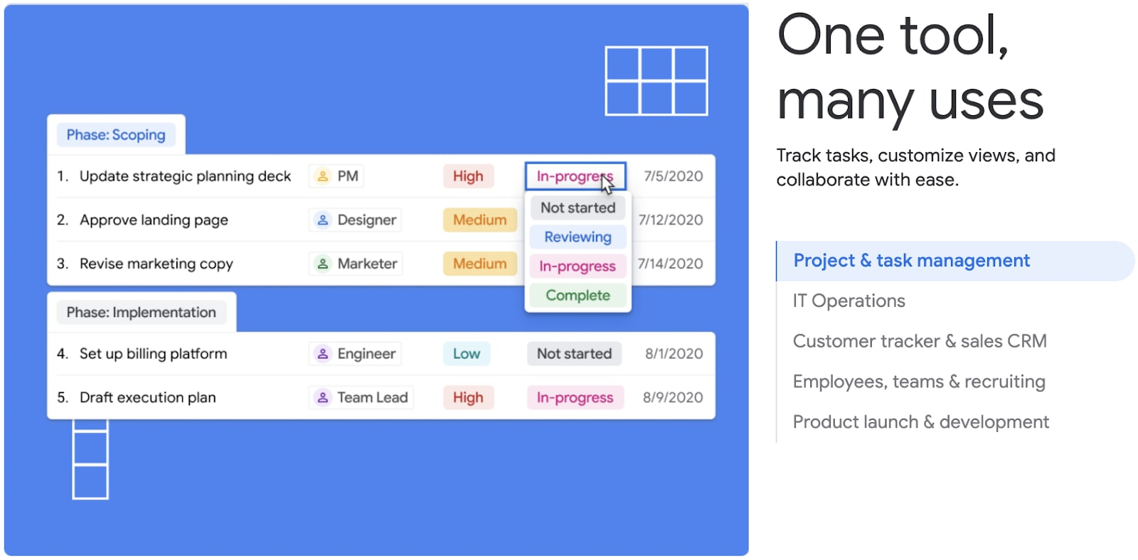 A screenshot of Google Tables' view for project and task management.