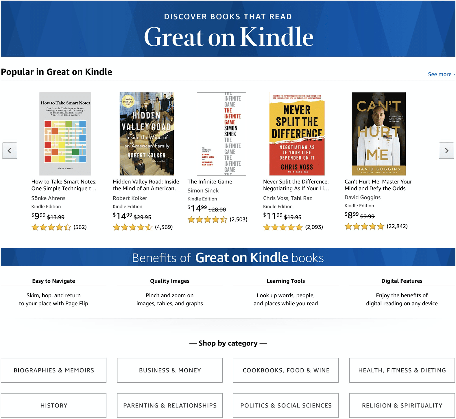 A screenshot of the Great on Kindle page.