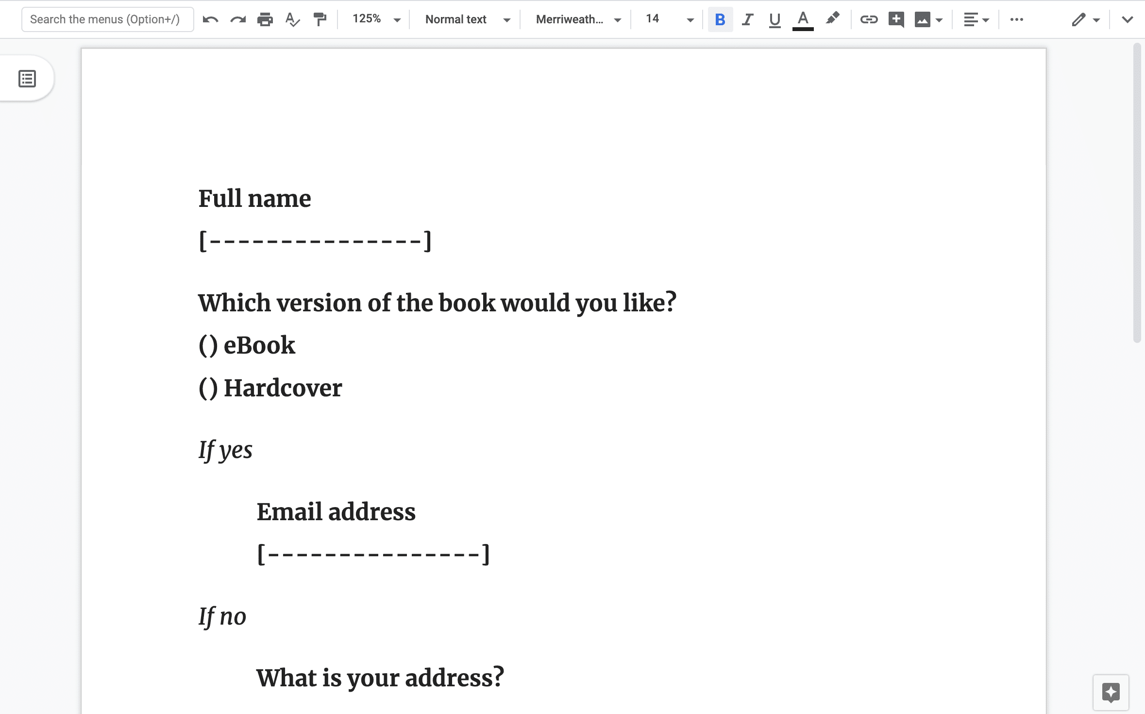 An example of a form designed in plain text