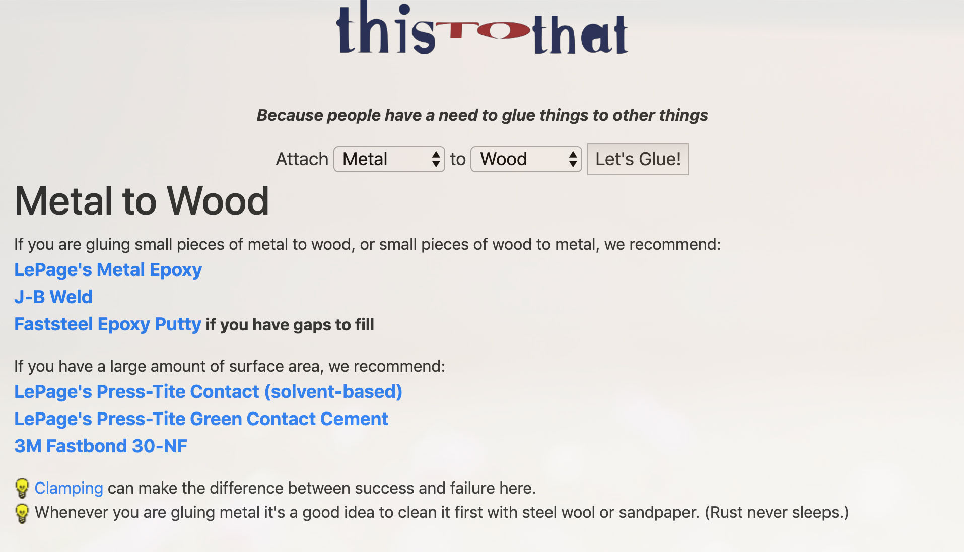 Screenshot of ThisToThat's homepage