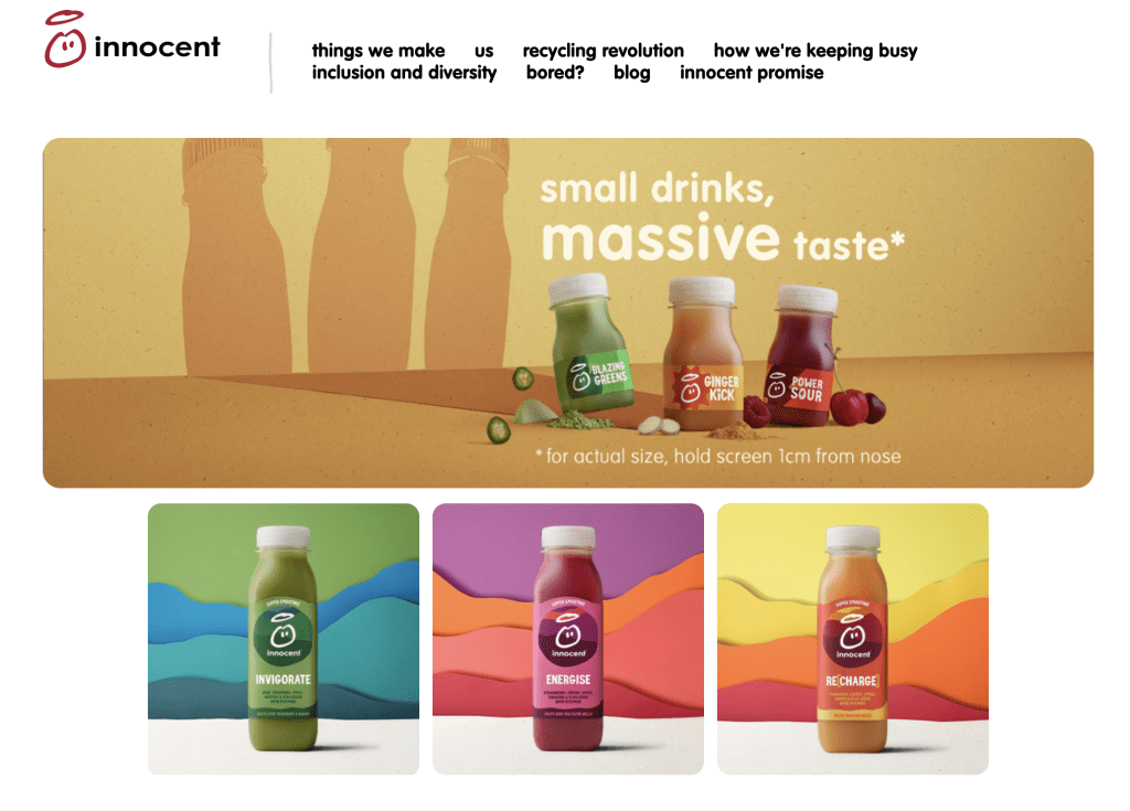 human copy example - innocent drinks