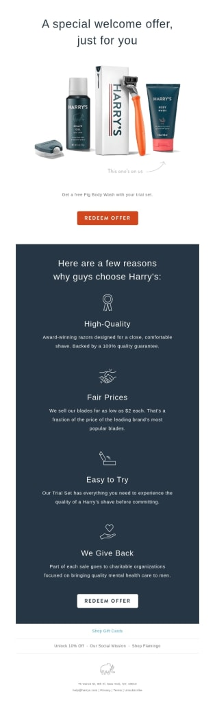 Example of a welcome email introducing brand and offer