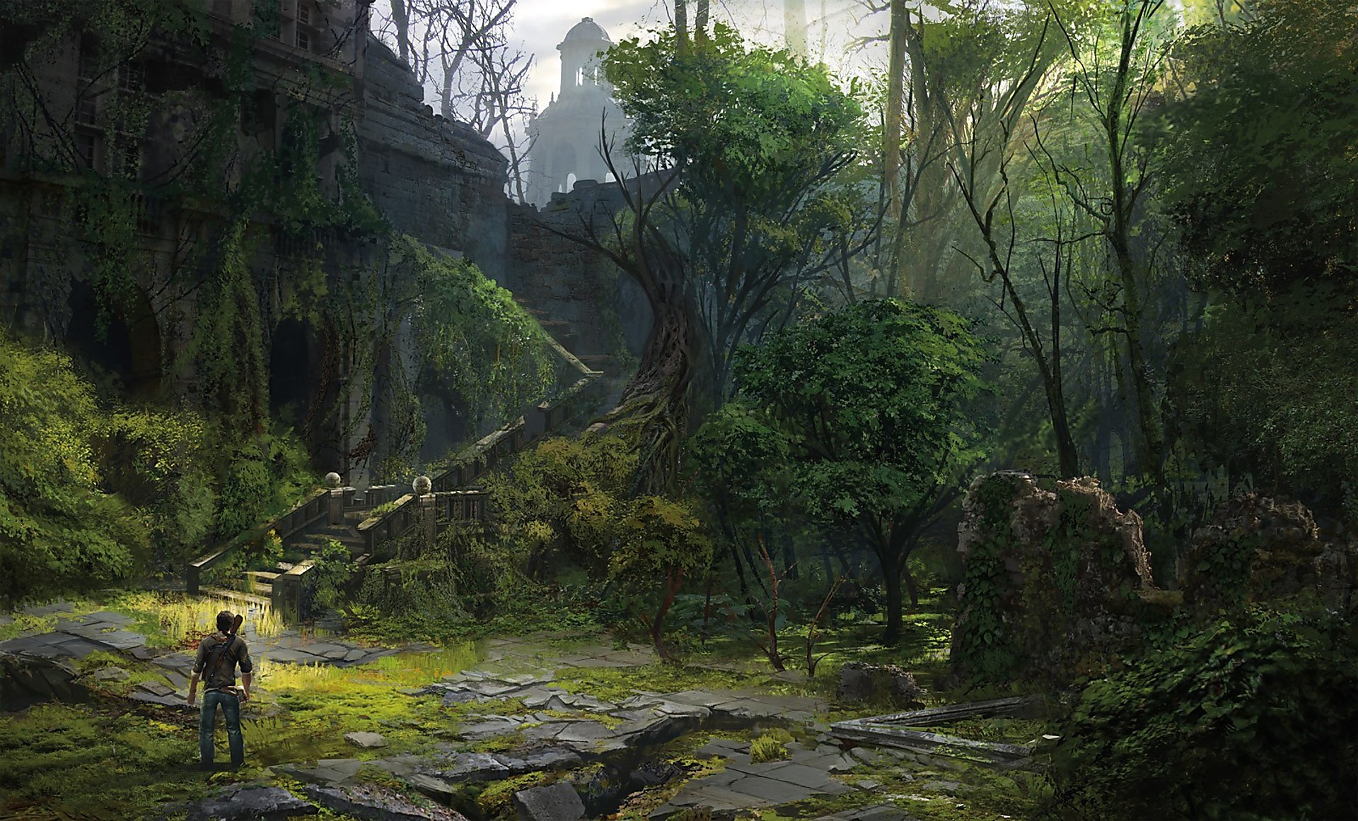 Artwork Chateau Courtyard Uncharted 3 Naughty Dog