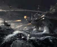 Aircraft carrier in naval battle