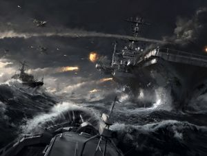 Aircraft carrier in naval battle, EA ©