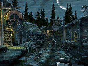 Riverwood Nighttime - Skyrim, Bethesda Softworks ©