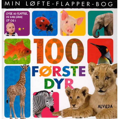 Image of   100 første dyr - Min løfte-flapper-bog - Papbog