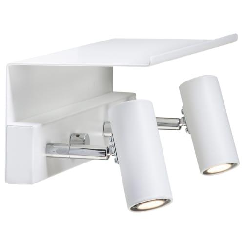 Image of   Belid dobbelt væglampe med hylde - Cato - Hvid