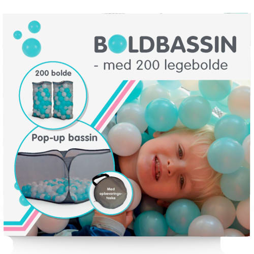Boldbassin med 200 legebolde - Aqua/hvid