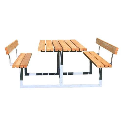 Bord- og bænkesæt - Basic med 2 ryglæn - Natur
