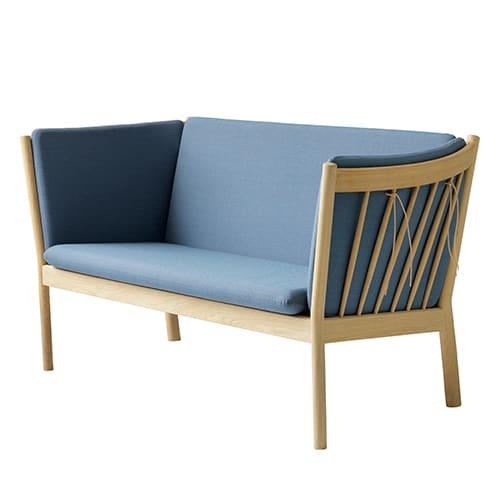 Erik Ole Jørgensen 2 pers. sofa - J148 - Eg/støvet blå