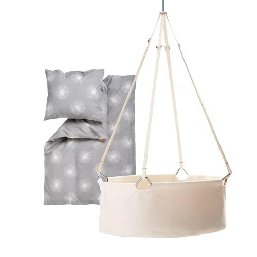 Leander vugge inkl. Flora babysengetøj - Hvid/grå
