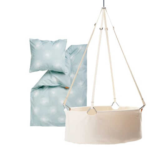 Leander vugge inkl. Flora babysengetøj - Hvid/lyseblå