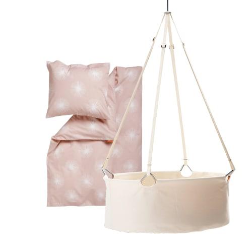 Leander vugge inkl. Flora babysengetøj - Hvid/lyserød