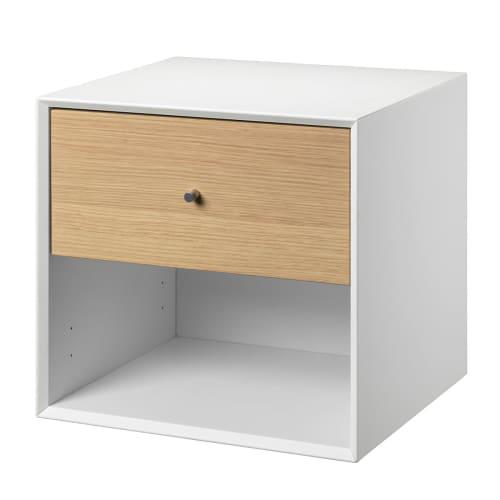 Living&more Reol Med Skuffe - The Box - 37 X 39,4 X 34 Cm - Hvid/eg