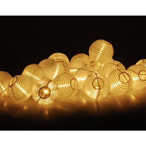 Lyskæde med 20 hvide polyesterlanterner med hvidt LED-lys