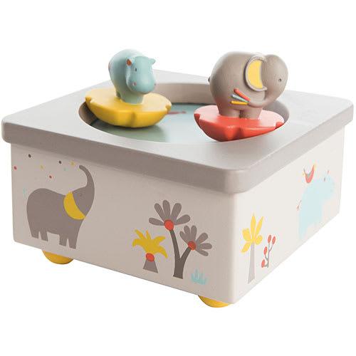 Image of   Moulin Roty spilledåse med roterende elefant og flodhest